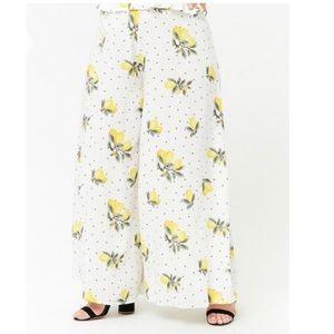 Forever21+ Lemon Print Wide Leg Pants